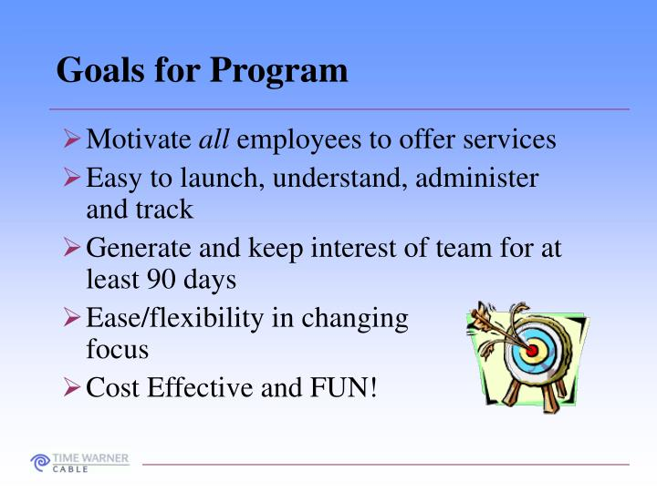 Goals for Program