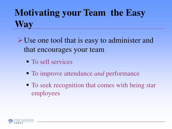 Motivating your Team  the Easy Way