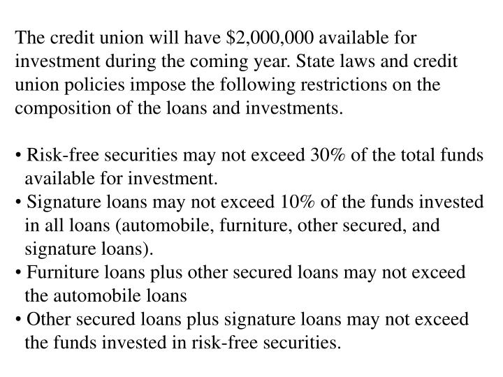 The credit union will have $2,000,000 available for investment during the coming year. State laws and credit union policies impose the following restrictions on the  composition of the loans and investments.