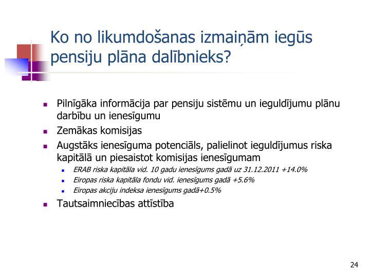 Ko no likumdošanas izmaiņām iegūs pensiju plāna dalībnieks?