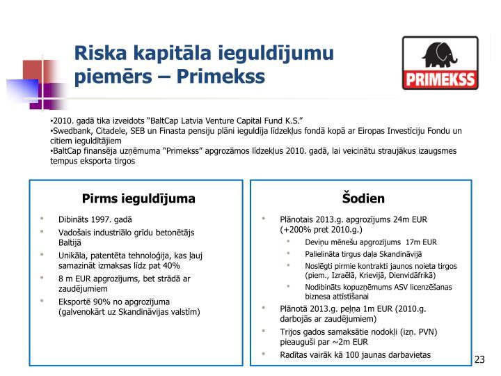 Riska kapitāla ieguldījumu piemērs – Primekss