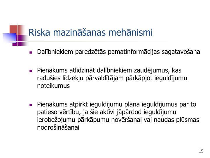 Riska mazināšanas mehānismi