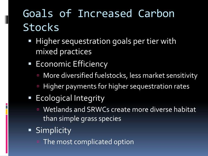 Goals of Increased Carbon Stocks