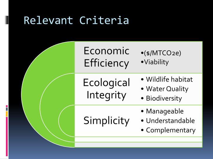 Relevant Criteria
