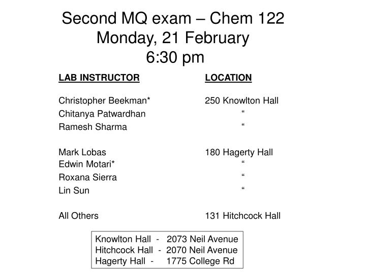 Second MQ exam – Chem 122