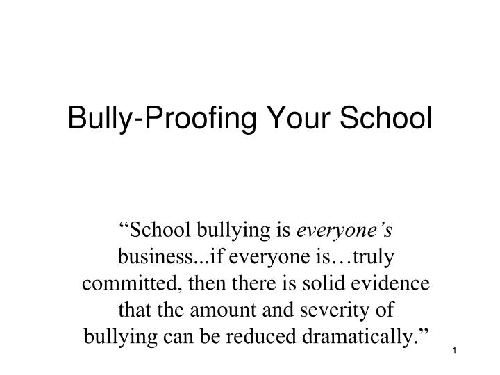 bully proofing your school