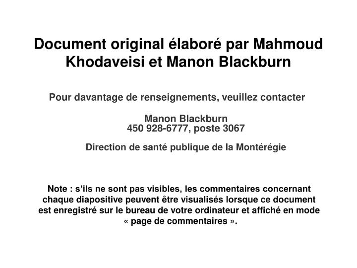 Document original élaboré par Mahmoud Khodaveisi et Manon Blackburn