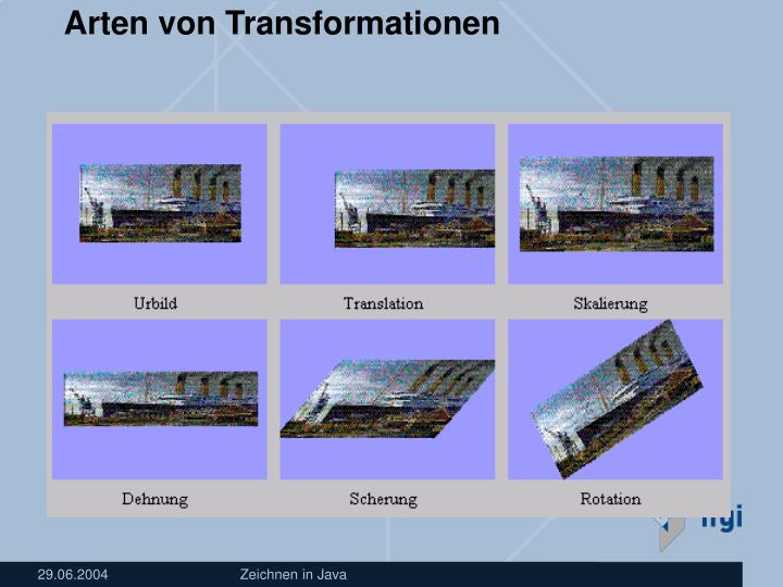 Arten von Transformationen
