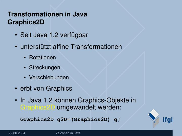 Transformationen in Java