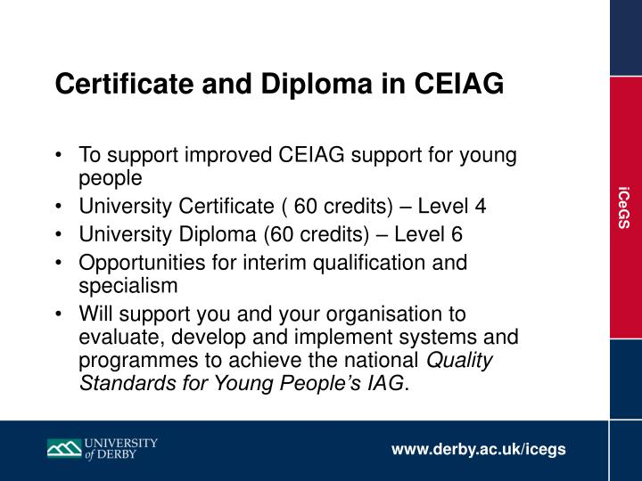 Certificate and Diploma in CEIAG