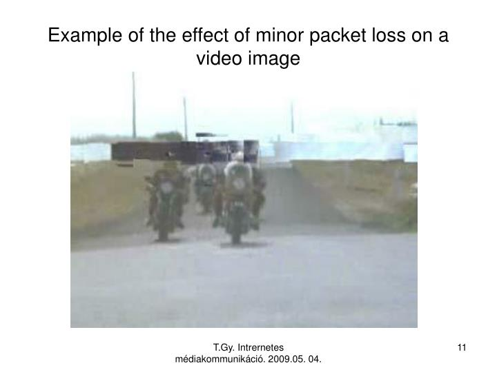 Example of the effect of minor packet loss on a video image