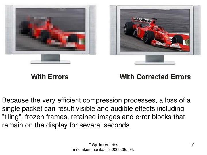 "Because the very efficient compression processes, a loss of a single packet can result visible and audible effects including ""tiling"", frozen frames, retained images and error blocks that remain on the display for several seconds."