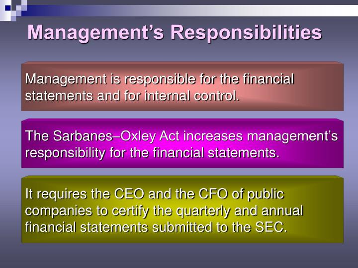 Management's Responsibilities