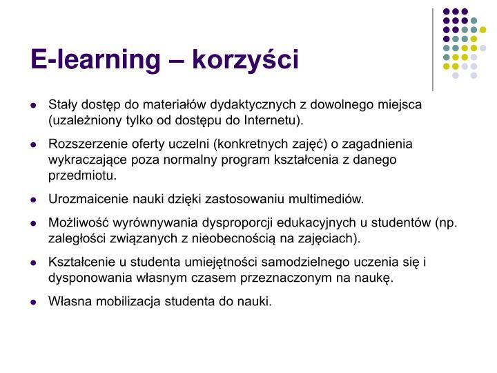 E-learning – korzyści