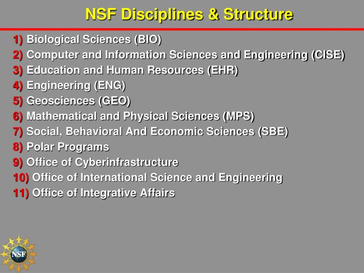 NSF Disciplines & Structure