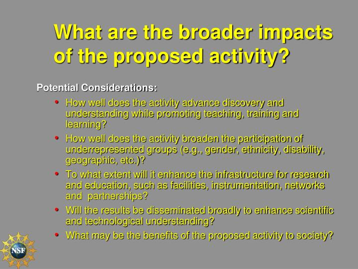 What are the broader impacts of the proposed activity?
