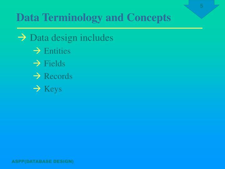 Data design includes