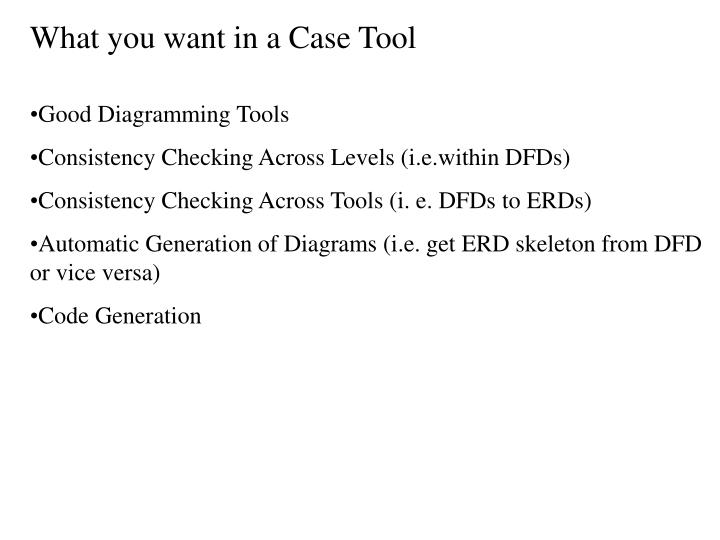 What you want in a Case Tool