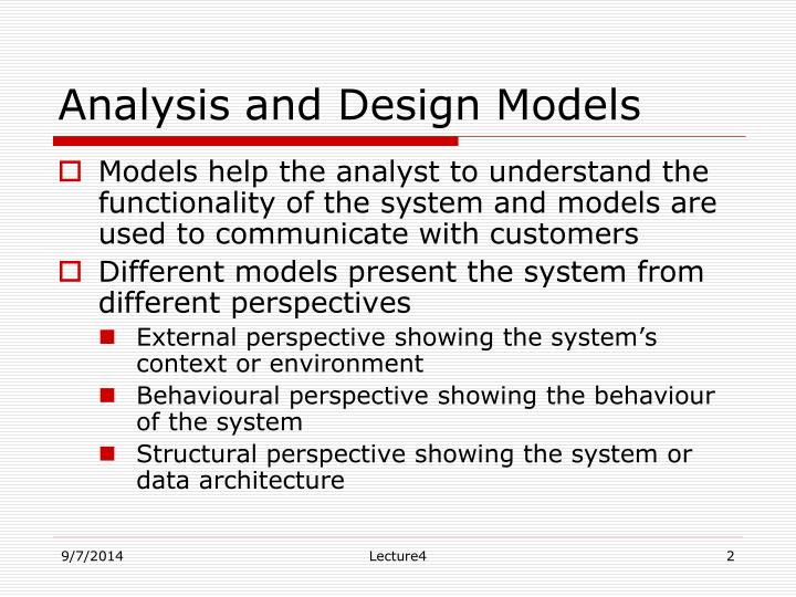 Analysis and design models1