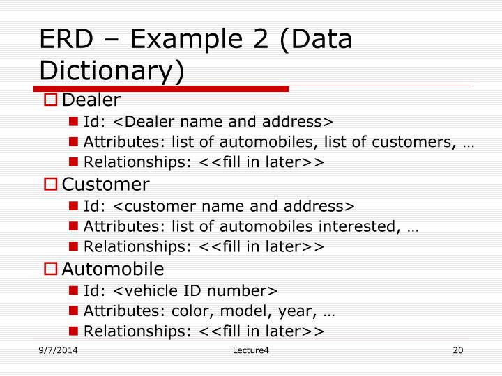 ERD – Example 2 (Data Dictionary)