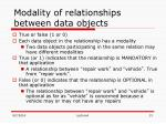 modality of relationships between data objects