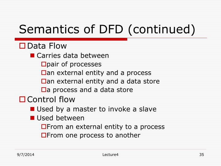 Semantics of DFD (continued)
