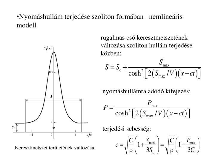 Nyomáshullám terjedése szoliton formában– nemlineáris  modell