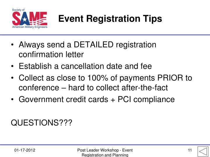 Event Registration Tips