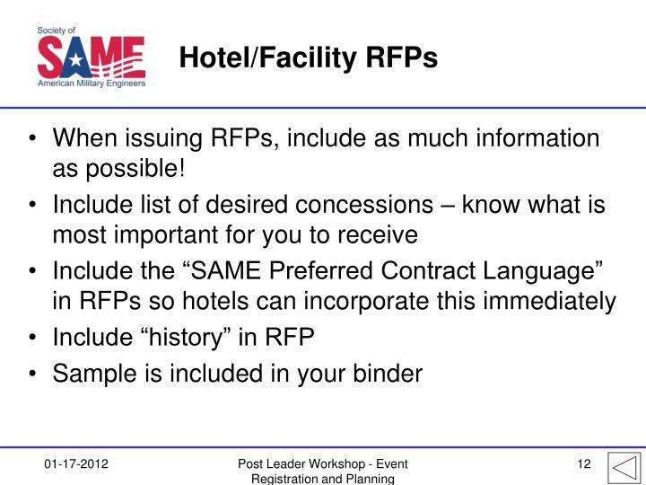 Hotel/Facility RFPs