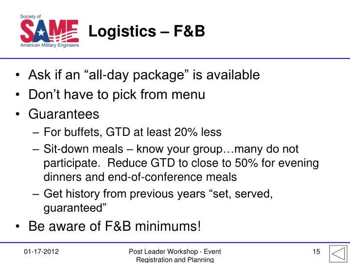 Logistics – F&B