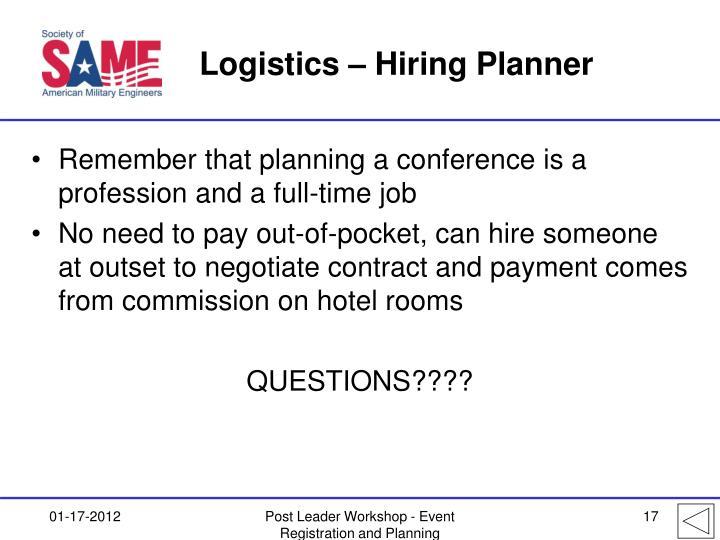 Logistics – Hiring Planner