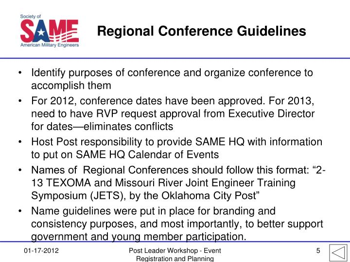 Regional Conference Guidelines