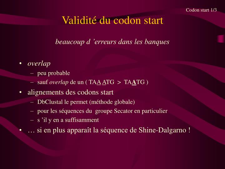 Codon start 1/3