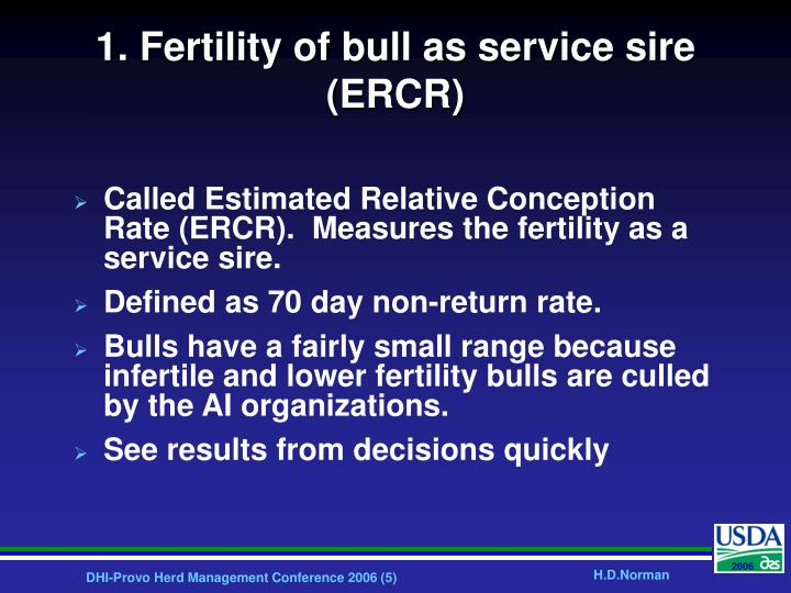 1. Fertility of bull as service sire (ERCR)