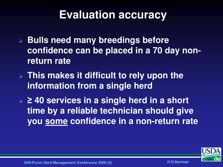 Evaluation accuracy