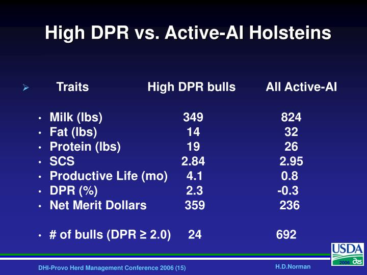 High DPR vs. Active-AI Holsteins