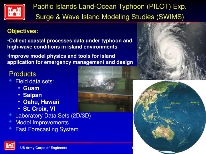 Pacific islands land ocean typhoon pilot exp surge wave island modeling studies swims