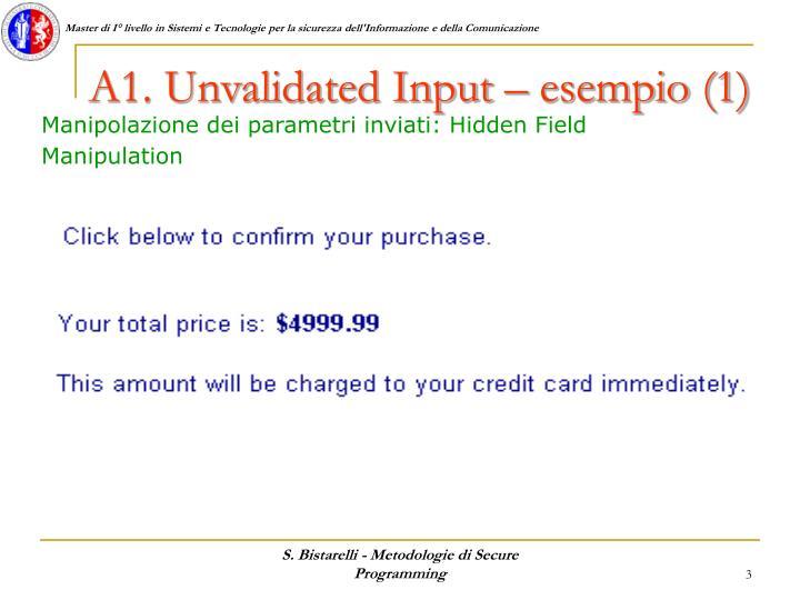 A1. Unvalidated Input – esempio (1)
