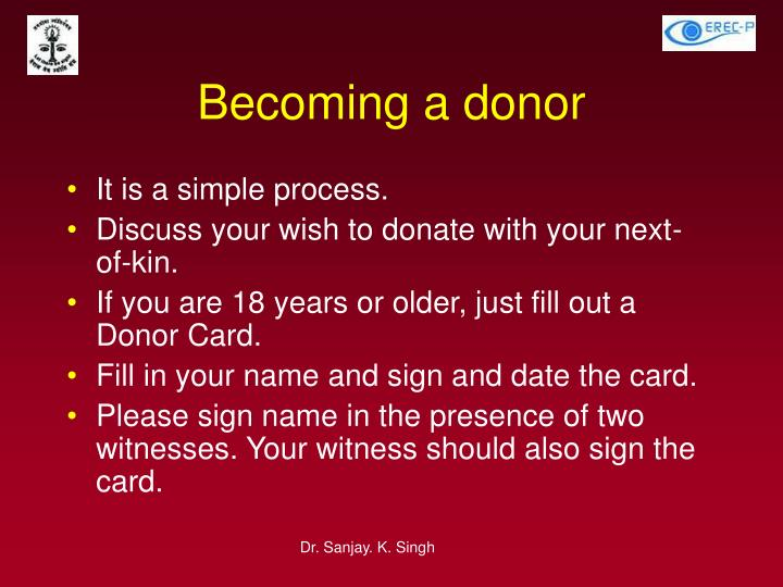 Becoming a donor