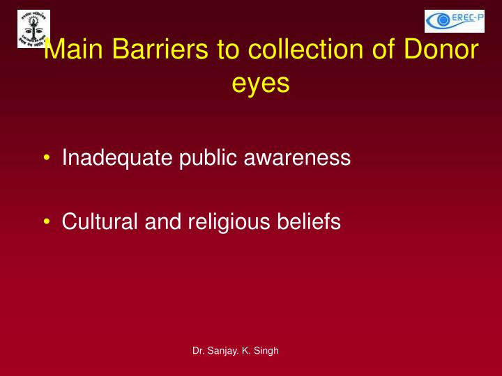 Main Barriers to collection of Donor eyes