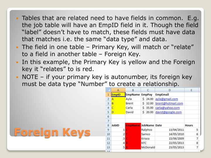 Tables that are related need to have fields in common.  E.g. the job table will have an