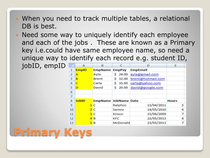 When you need to track multiple tables, a relational DB is best.