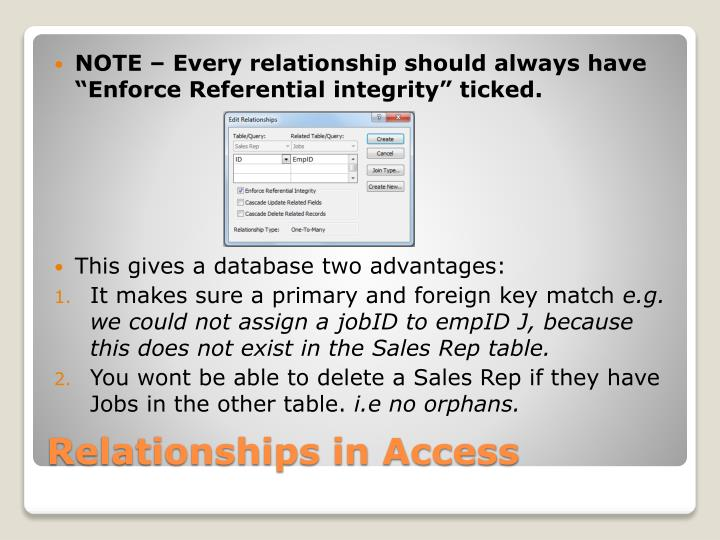 "NOTE – Every relationship should always have ""Enforce Referential integrity"" ticked."