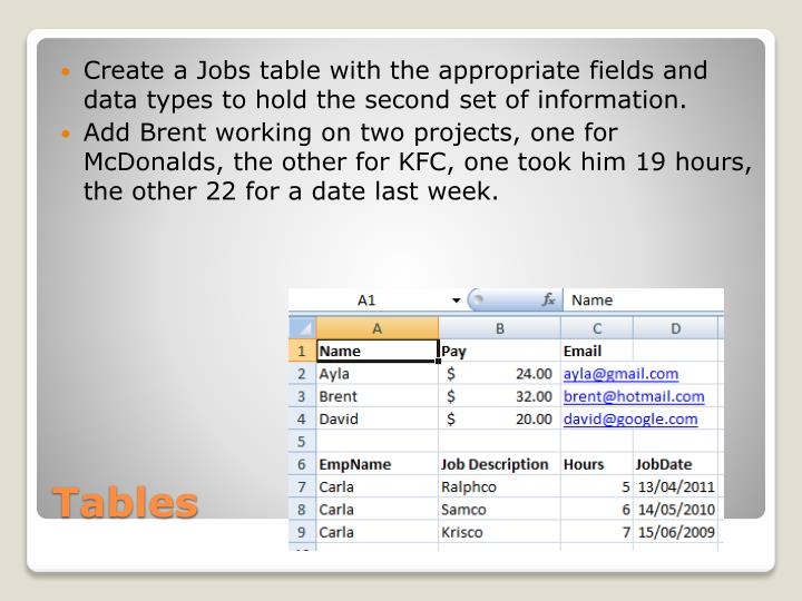 Create a Jobs table with the appropriate fields and data types to hold the second set of information.