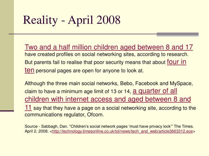 Reality - April 2008