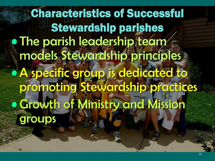 Characteristics of Successful Stewardship parishes