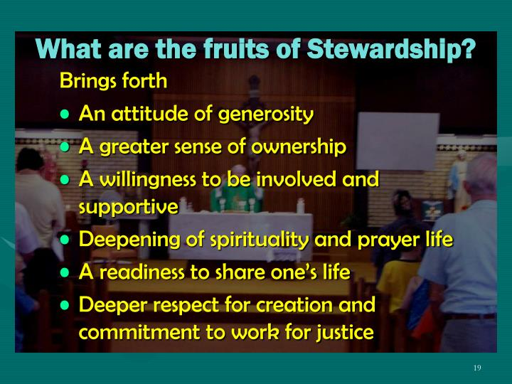 What are the fruits of Stewardship?