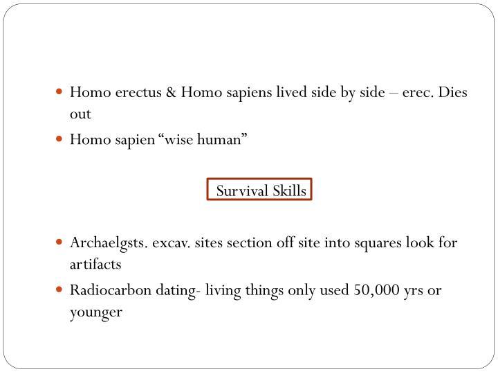 Homo erectus & Homo sapiens lived side by side –