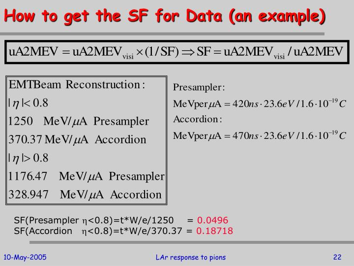 How to get the SF for Data (an example)