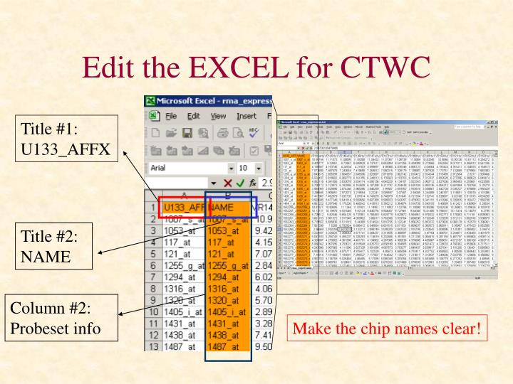 Edit the EXCEL for CTWC